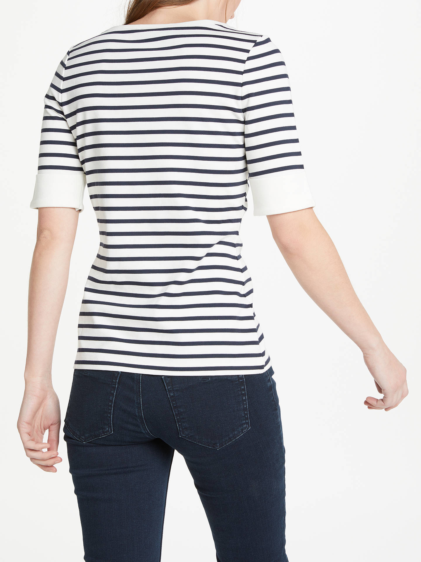 aef2f42d Buy Oui Striped T-Shirt, White/Blue, 8 Online at johnlewis.