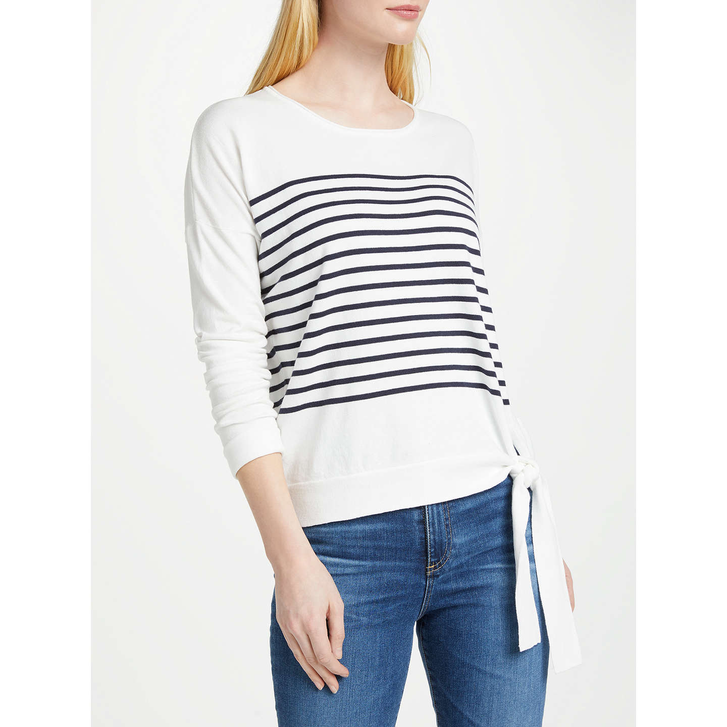 BuyOui Striped Tie Jumper, Blue/White, 8 Online at johnlewis.com