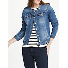 Buy Oui Studded Denim Jacket, Dark Blue Denim Online at johnlewis.com
