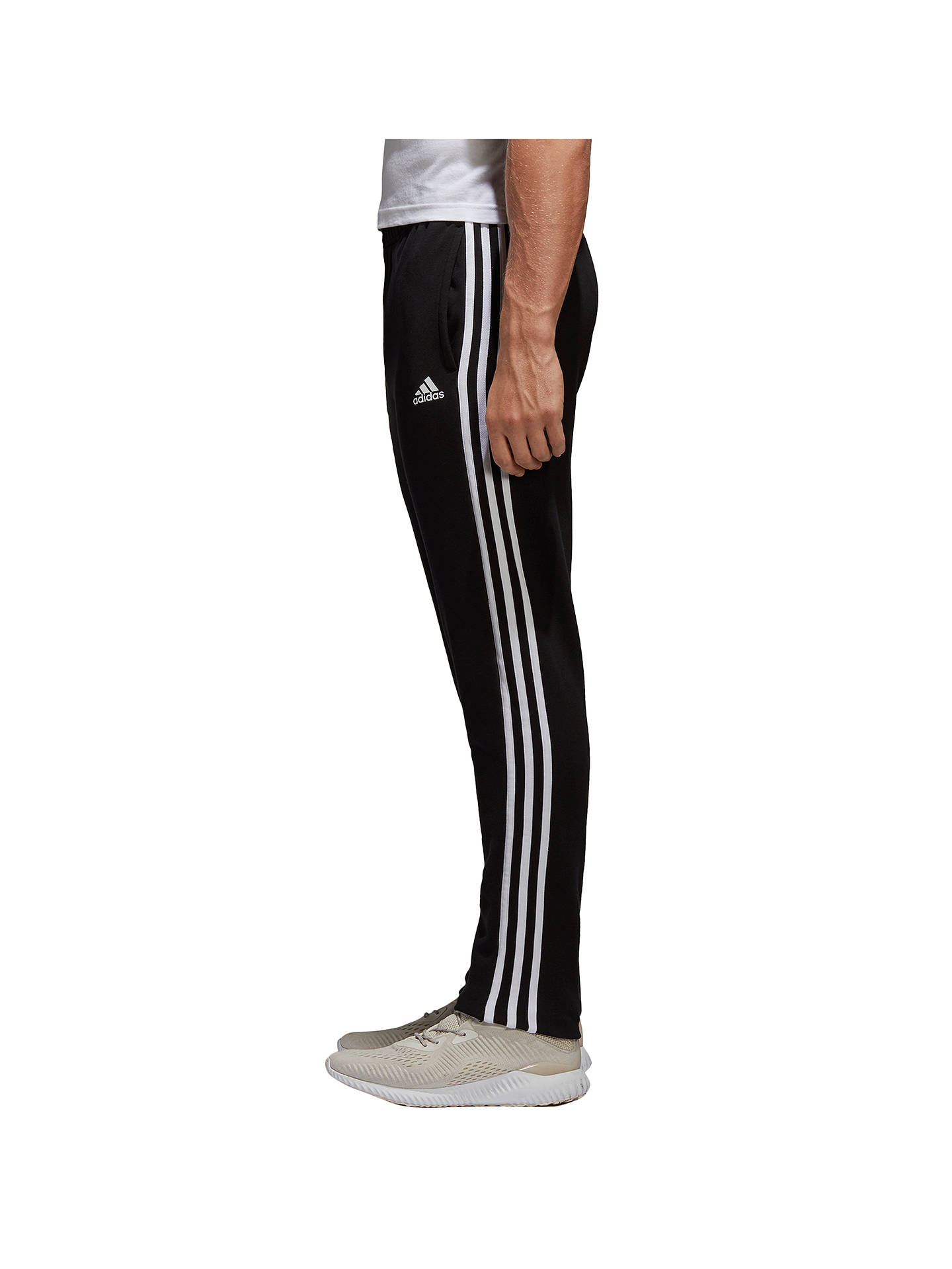 Buyadidas Essential 3 Stripe Training Joggers, Black/White, S Online at johnlewis.com