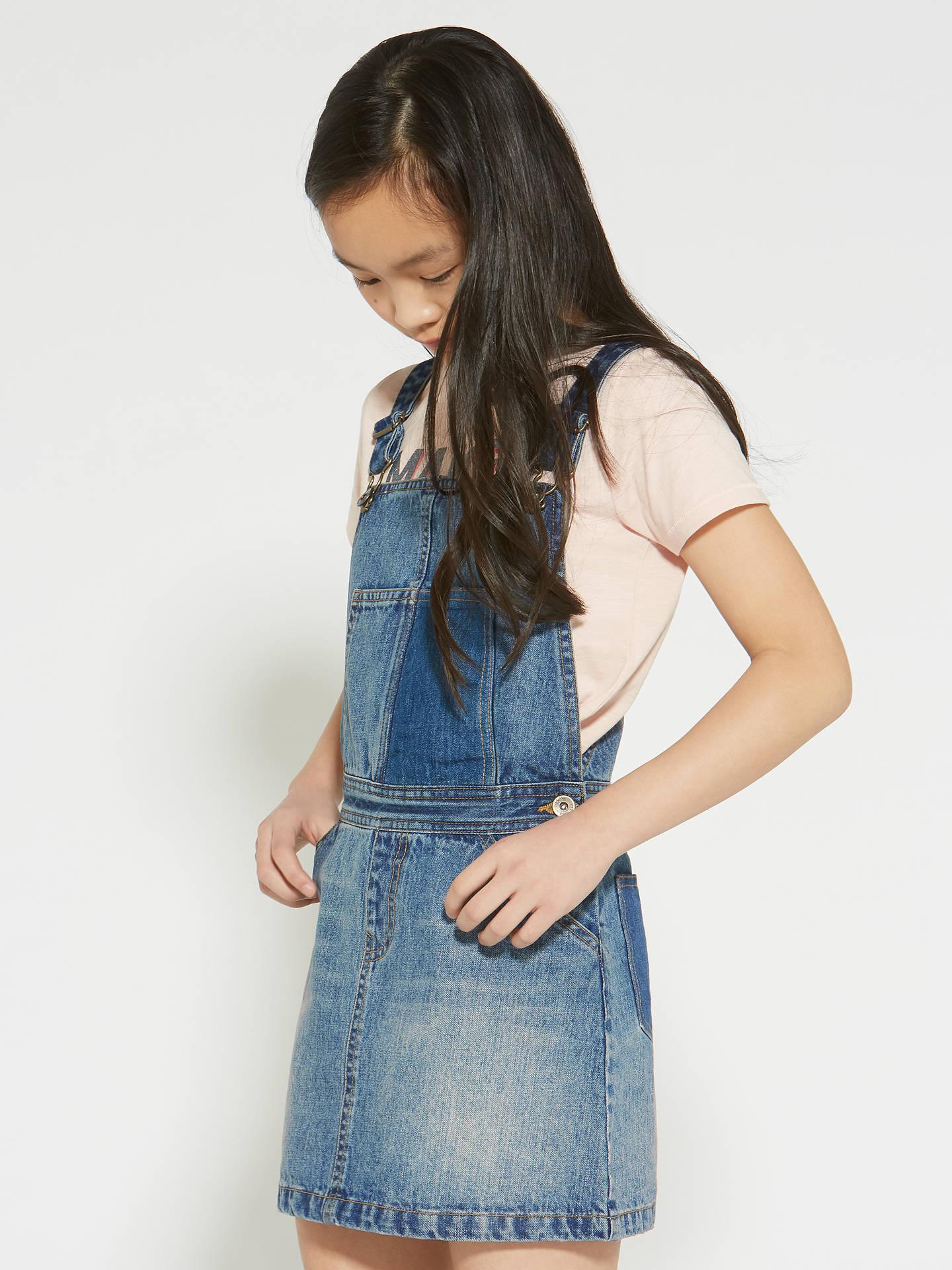 c1c60f5d3251 Buy John Lewis & Partners Girls' Denim Pinafore Dress, Blue, 8 yrs Online  ...