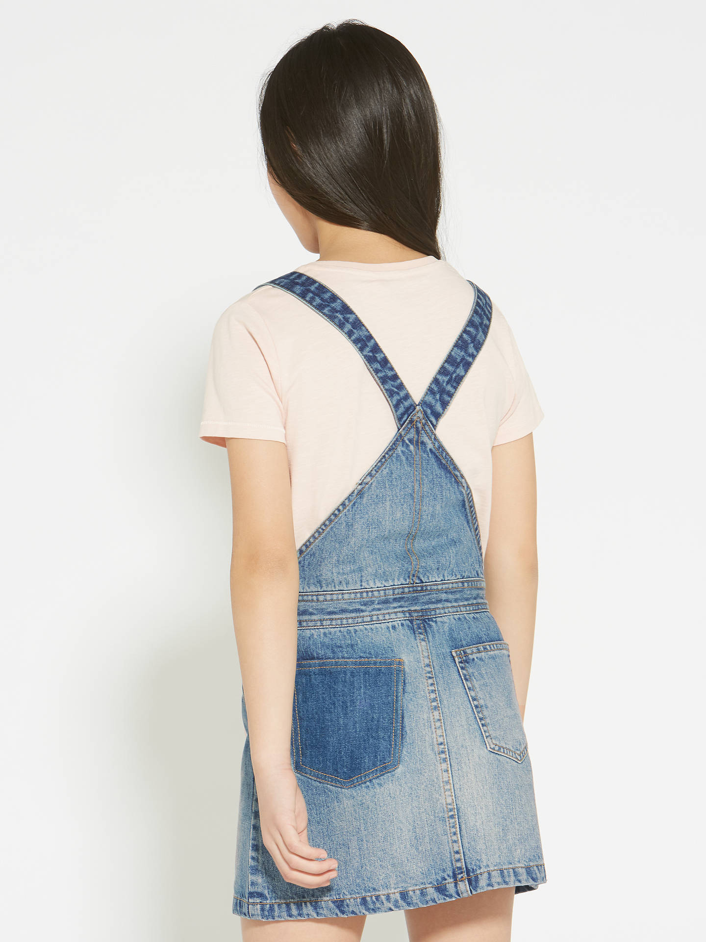 1ed414a003fa ... Buy John Lewis & Partners Girls' Denim Pinafore Dress, Blue, 8 yrs  Online
