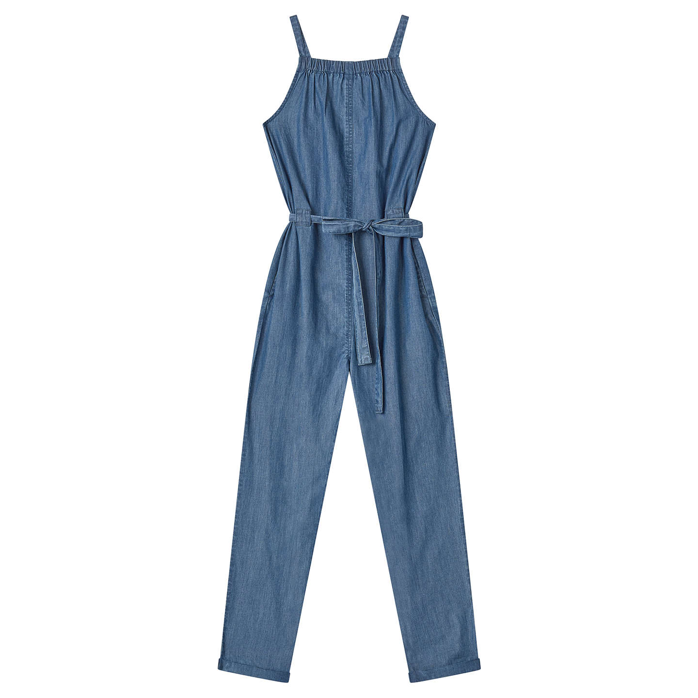 John Lewis Girls' Chambray Jumpsuit, Blue by John Lewis