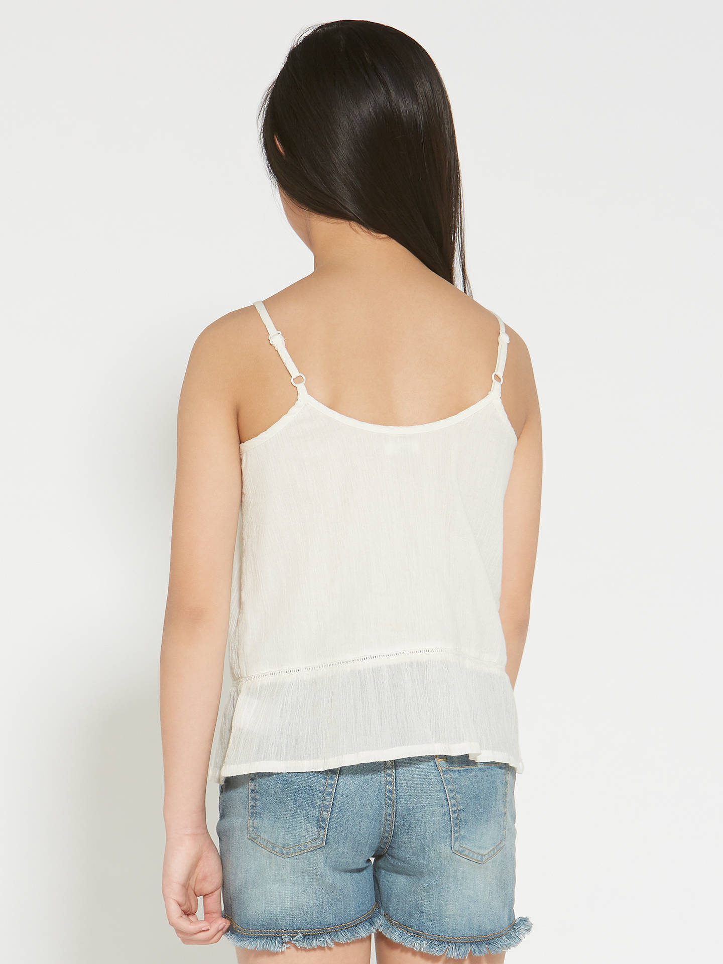 BuyJohn Lewis & Partners Girls' Embroidered Woven Camisole Top, White, 12 years Online at johnlewis.com