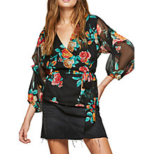 Buy Miss Selfridge Floral Print Tuck Sleeve Wrap Blouse, Multi Online at johnlewis.com