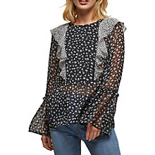 Buy Miss Selfridge Ditsy Print Ruffle Blouse, Monochrome Online at johnlewis.com