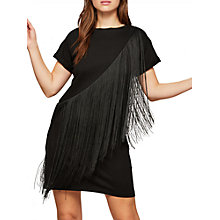 Buy Miss Selfridge Fringed T-Shirt Dress, Black Online at johnlewis.com