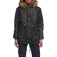 Buy Whistles Karlie Waxy Parka, Black Online at johnlewis.com