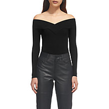 Buy Whistles V-Neck Bardot Jumper, Black Online at johnlewis.com