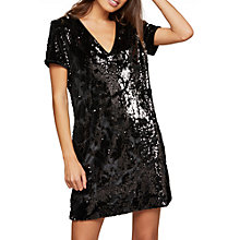 Buy Miss Selfridge Sequin Velour Dress, Black Online at johnlewis.com