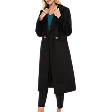 Buy Jaeger Wool Double Breasted Coat, Black Online at johnlewis.com