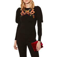Buy Karen Millen Embroidered Drama Jumper, Black Online at johnlewis.com