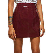 Buy Miss Selfridge Petite Vinyl A-Line Skirt, Burgundy Online at johnlewis.com