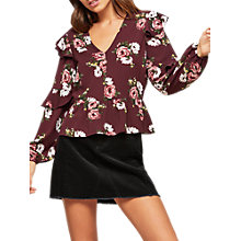 Buy Miss Selfridge Petite Print Ruffle Blouse, Burgundy Online at johnlewis.com