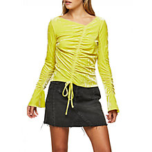 Buy Miss Selfridge Velvet Draw Top, Chartreuse Online at johnlewis.com