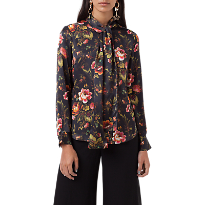 Product photo of Finery opal lotus flower print tie neck blouse multi
