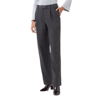 Finery Holtby Flannel Wide Leg Trousers, Grey