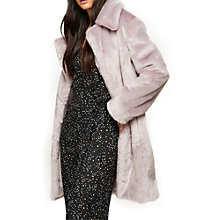 Buy Miss Selfridge Faux Fur Midi Coat, Lilac Online at johnlewis.com