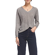Buy Whistles Oversized V-Neck Jumper, Grey Marl Online at johnlewis.com