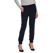 Buy Whistles Ribbed Cuff Crepe Jogger Trousers, Navy Online at johnlewis.com