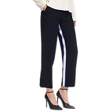 Buy Whistles Stripe Insert Crepe Trousers, Navy Online at johnlewis.com