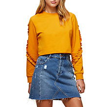 Buy Miss Selfridge Petite Ruffle Sleeve Sweatshirt, Ochre Online at johnlewis.com