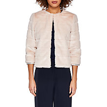 Buy Ted Baker Gilleni Cropped Faux Fur Jacket, Pale Pink Online at johnlewis.com