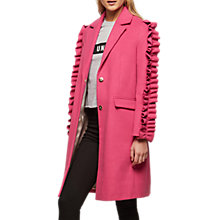 Buy Miss Selfridge Ruffle Sleeve Coat, Pink Online at johnlewis.com