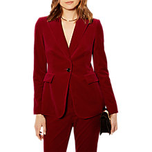 Buy Karen Millen Velvet Collection Tailored Blazer, Red Online at johnlewis.com