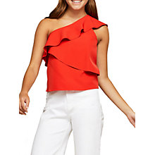 Buy Miss Selfridge Structured One Shoulder Top, Red Online at johnlewis.com