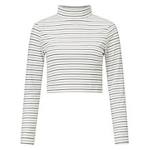 Buy Miss Selfridge Petite Striped Roll Neck T-Shirt, White Online at johnlewis.com