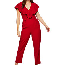 Buy Miss Selfridge Frill Cape Jumpsuit, Red Online at johnlewis.com