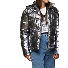 Buy Miss Selfridge Oversize Puffer Jacket, Silver Metal Online at johnlewis.com