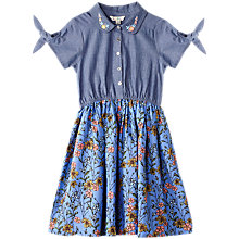 Buy Yumi Girl Chambray Floral Print Shirt Dress, Blue Online at johnlewis.com