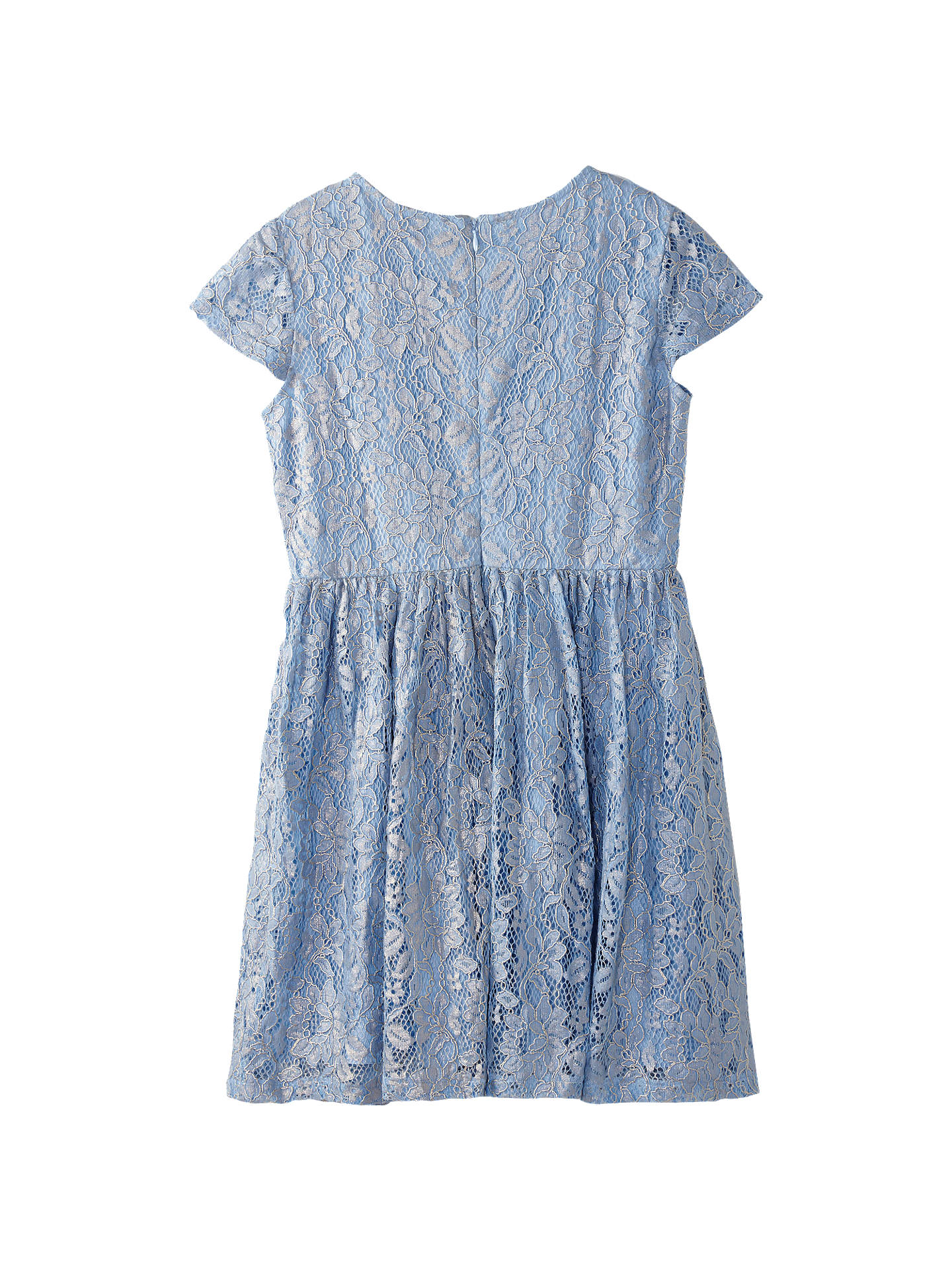 BuyYumi Girl Foiled Lace Dress, Blue, 5-6 years Online at johnlewis.com