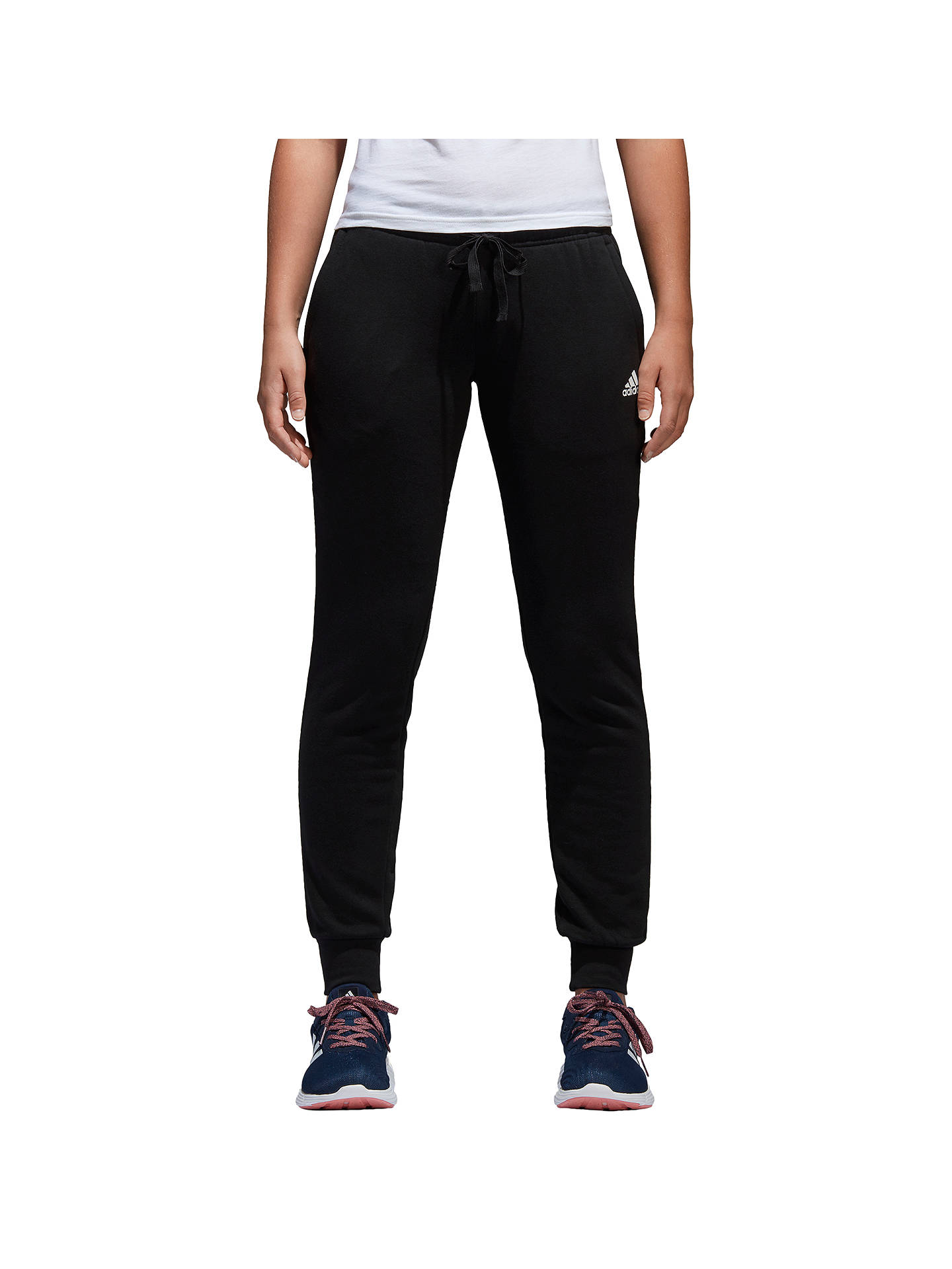 Buy adidas Essentials Solid Tracksuit Bottoms, Black/White, XS Online at johnlewis.com