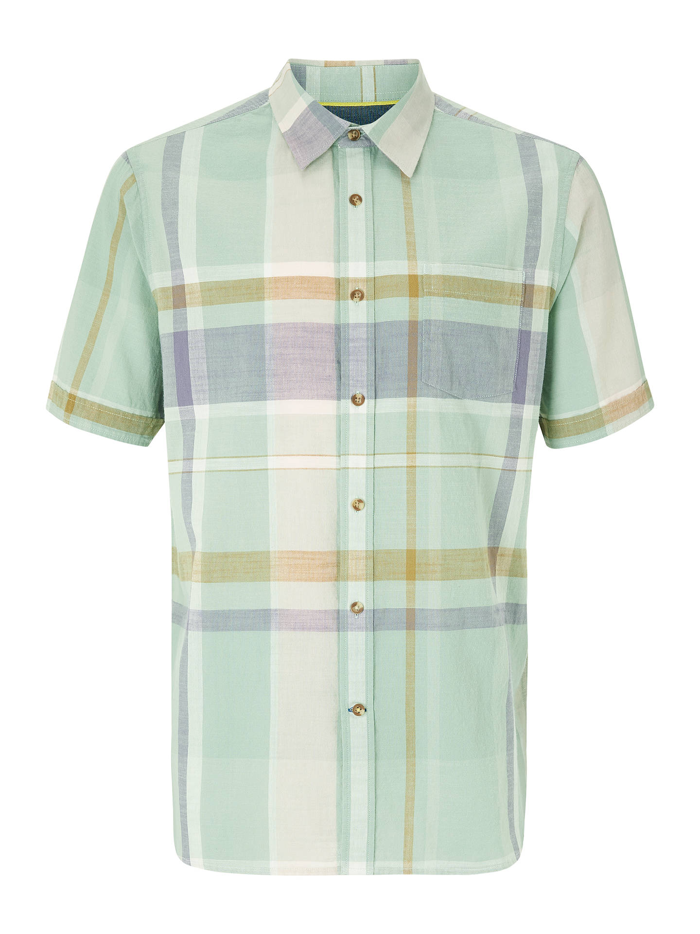 BuyJohn Lewis & Partners Connell Large Scale Check Short Sleeve Shirt, Green/Blue, S Online at johnlewis.com