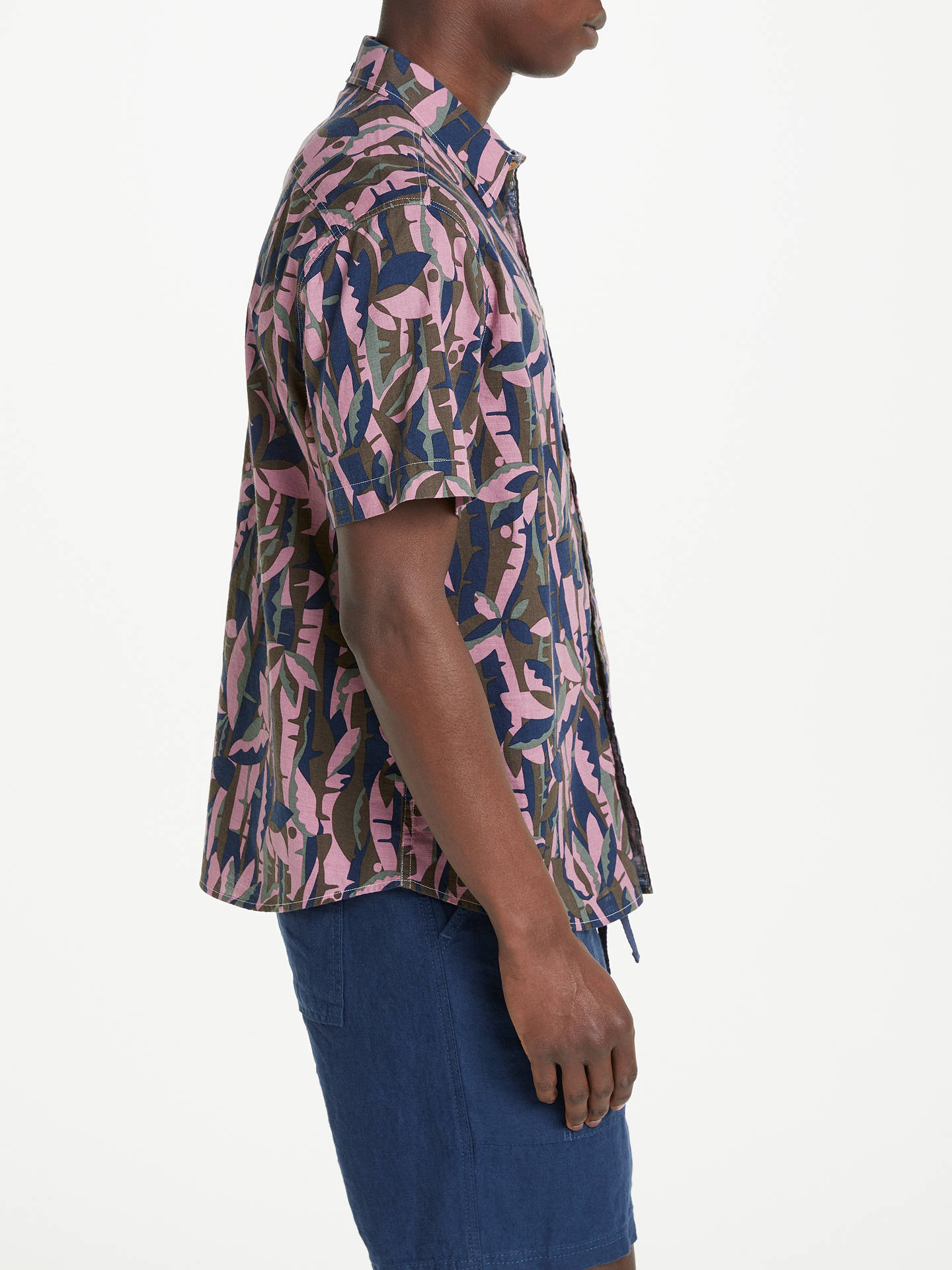 BuyJOHN LEWIS & Co. Japanese Bamboo Print Short Sleeve Shirt, Blue/Red, S Online at johnlewis.com