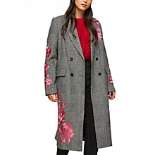 Buy Miss Selfridge Embroidered Checked Duster Coat, Multi Online at johnlewis.com