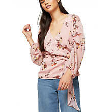 Buy Miss Selfridge Ditsy Floral Print Tuck Wrap Blouse, Pink Online at johnlewis.com