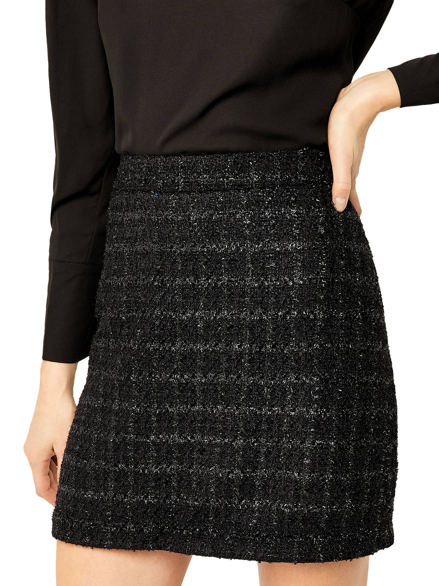 905f751aeba1bf Buy Warehouse Sparkle Tweed Skirt, Black, 6 Online at johnlewis.com ...