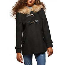 Buy Miss Selfridge Petite Duffle Faux Fur Coat, Black Online at johnlewis.com