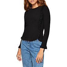 Buy Miss Selfridge Ruffle Rib Jumper Petite, Black Online at johnlewis.com
