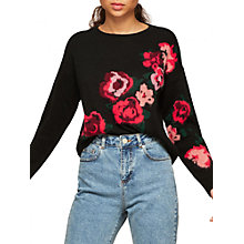 Buy Miss Selfridge Petite Floral Jumper, Black Online at johnlewis.com