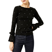 Buy Warehouse Pearl Flare Cuff Jumper, Black Online at johnlewis.com