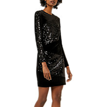 Buy Warehouse Velvet Sequin Panel Dress, Black Online at johnlewis.com