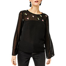 Buy Warehouse Snowdrop Embroidered Top, Black Online at johnlewis.com
