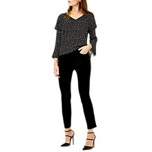 Buy Warehouse Ditsy Star Frill Sleeve Top, Black Online at johnlewis.com