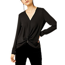 Buy Warehouse Knot Long Sleeve Top, Black Online at johnlewis.com