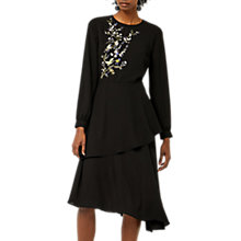 Buy Warehouse Oriental Bird Midi Dress, Black Online at johnlewis.com